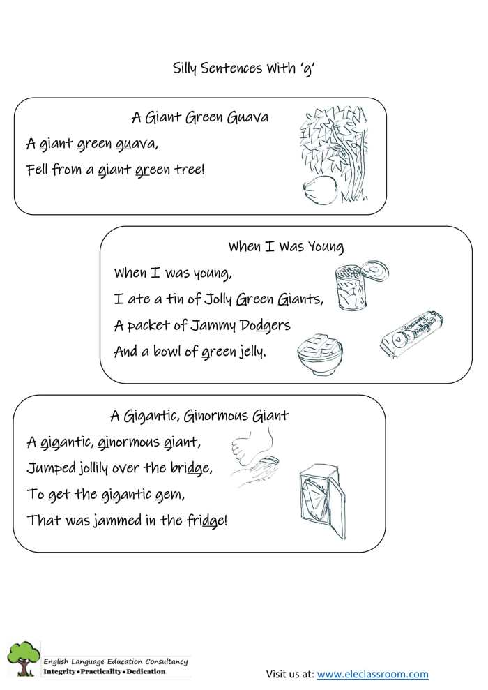 Silly Sentences with g Ver 2-1